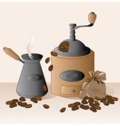 coffee grinder and coffee beans vector image