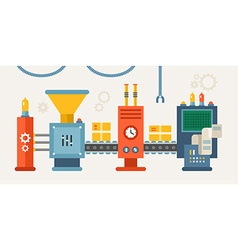 Conveyor System with Manipulators Flat Style vector image