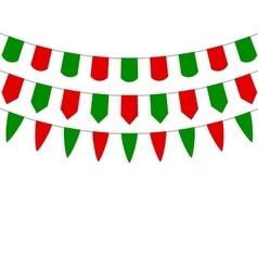 Decorative flags on greeting Christmas vector image vector image