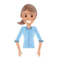 drawing portrait woman female design vector image vector image