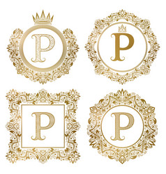 golden letter p vintage monograms set heraldic vector image vector image