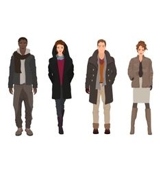 Handsome young guys with beautiful girls models in vector image vector image