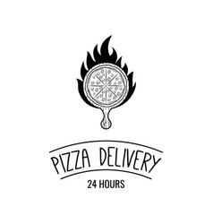 pizza delivery logo with fire vector image