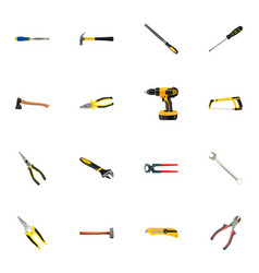 Realistic electric screwdriver claw tongs and vector