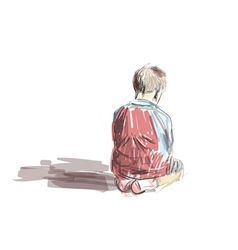 Boy sitting in the mosque vector image