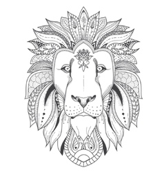 Poster with patterned lion vector image