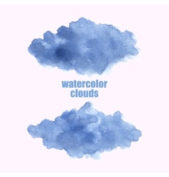 Watercolor cloud Blue clouds isolated on white vector image