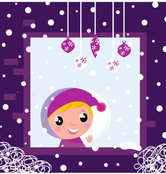 winter window fall vector image