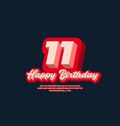 11 year happy birthday celebrate text 3d modern vector