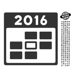 2016 calendar day icon with work bonus vector