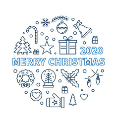 2020 merry christmas round creative linear vector image