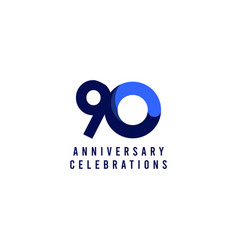 90 years anniversary celebration blue template vector