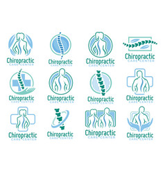 A set chiropractic logo spine health care vector
