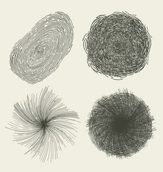 Abstract hand drawn circles splashes and shapes vector