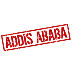 Addis ababa red square stamp vector