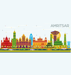 Amritsar india city skyline with color buildings vector