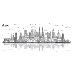 Asian landscape outline famous landmarks in asia vector