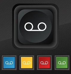 audio cassette icon symbol Set of five colorful vector image