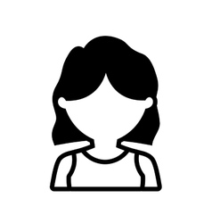 Avatar woman shirt hair style outline vector