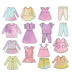 babies fashion collection hand drawn watercolor vector image