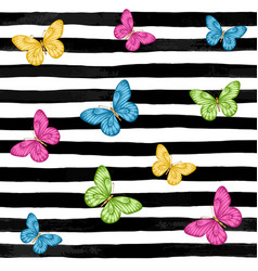 beautiful seamless background butterflies on vector image
