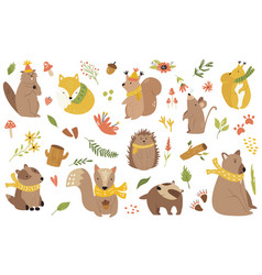 big bundle cute forest animals in scarfs vector image