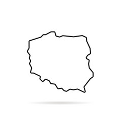 black thin line poland map with shadow vector image