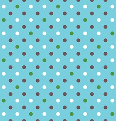 Blue background fabric with white green brown dots vector