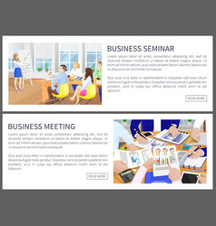 Business seminar web pages set vector