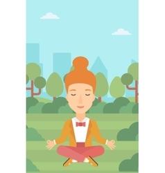 Business woman meditating in lotus pose vector