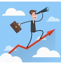 Businessman Flies Over Growing Chart vector image