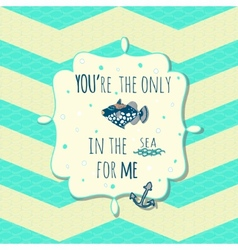 Card with cute fish and anchor in text box on vector