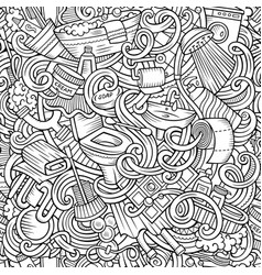 Cartoon cute doodles bathroom seamless pattern vector
