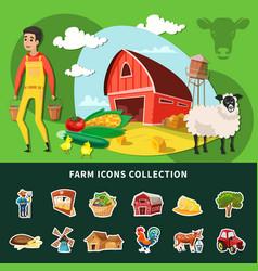 cartoon farm composition vector image