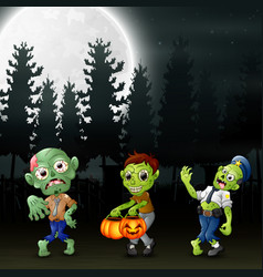 Cartoon of three zombies in the garden at night vector