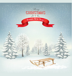 christmas holiday background with a snowy vector image