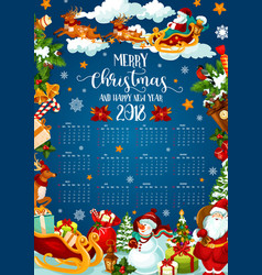 Christmas holiday calendar of 2018 new year design vector