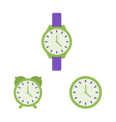 clock wrist watch alarm clock flat icons time vector image