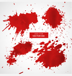 Collection red ink splatter vector