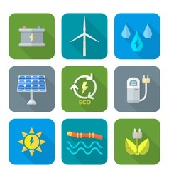 color flat style recycle ecology energy icons vector image
