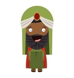 Colorful arabic man with turban and beard vector