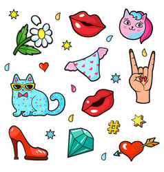comic book style stickers vector image