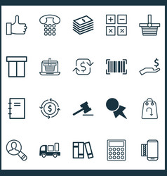 commerce icons set with like telephone support vector image