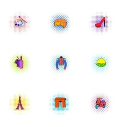 Country of France icons set pop-art style vector