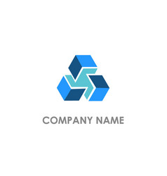 cube 3d square connect business logo vector image