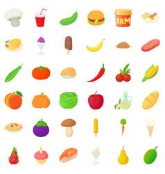 cucumber icons set cartoon style vector image