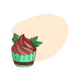 cupcake sweet pastries decorated with mint vector image