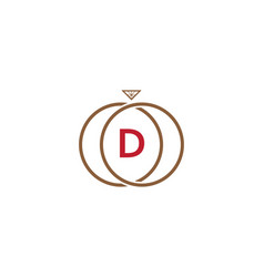 d letter ring diamond logo vector image