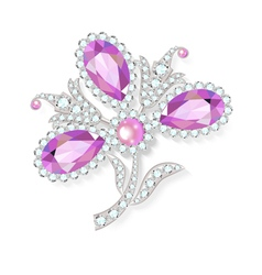 Delicate flower gemstones brooch vector