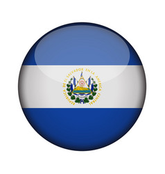 el salvador flag in glossy round button of icon vector image